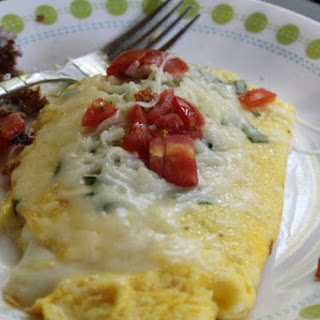 Tomato, Cheese, and Basil Omelet.