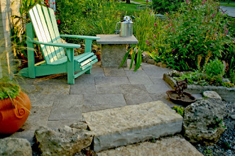 Photo: This is the entrance to our home/office. Square cut natural limestone and natural stone steps. Coffee on the front patio anyone?