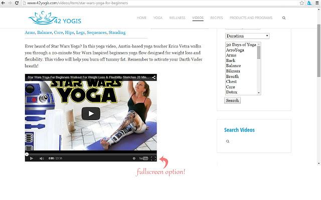 42Yogis Yoga Video Library Fullscreen Fix