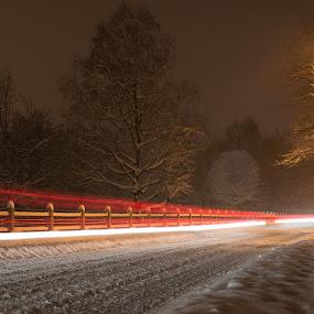 Snow road by Andrej Eling - City,  Street & Park  Street Scenes ( lights, winter, snow, night, road )