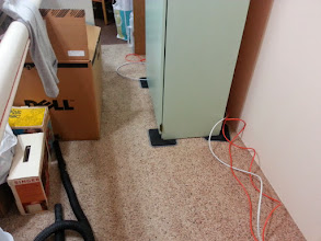Photo: I love the furniture movers!  I'll be tacking those wires down near the baseboard.