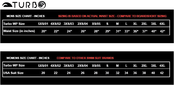 Swim Suit Sizing Chart