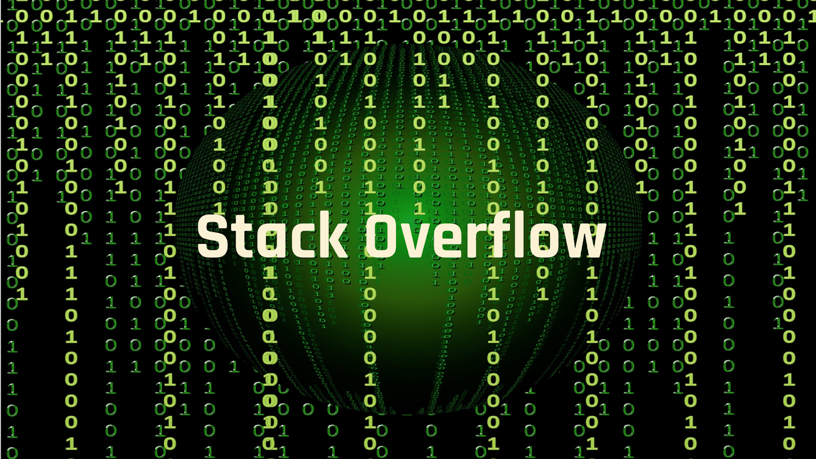 The Stack Overflow logo on a computer screen green background with ones and zeroes cascading behind it as in the Matrix.
