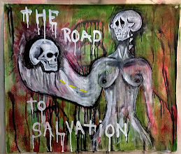 Photo: The Road To Salvation #18. 25 x 29 inches or 64 cm x 74 cm. Gesso, acrylic paint, chalk, charcoal, india ink, colored pencils, and spray paint on a West Virginia road map.  Sealed with a matte finish. Signed on the front. Title and signature on the back. ©Marisol McKee