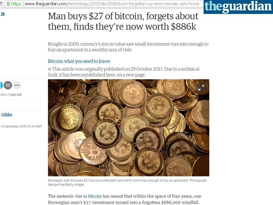 man forgets he bought bitcoins
