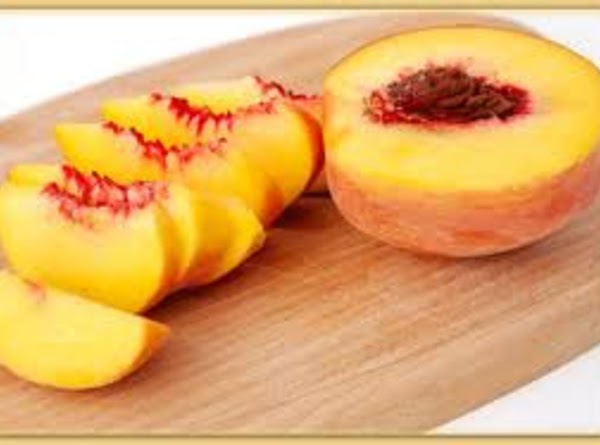 take one peach and slice it in half. take the big seed out and...