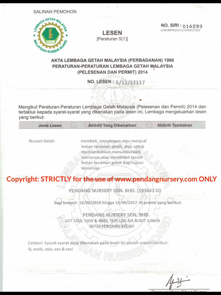 Pendang Nursery LGM Trade License