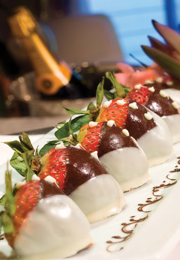 seven-seas-voyager-strawberries.jpg - The perfect mix: chocolate-covered strawberries and Champagne on Seven Seas Voyager.