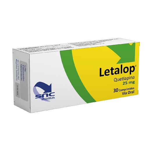 quetiapina letalop 25mg 30comprimidos snc pharma