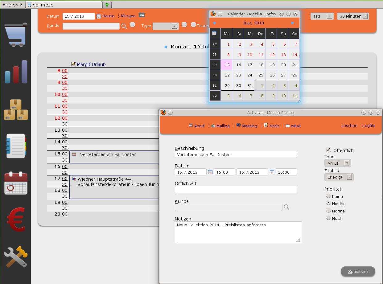 Photo: Der integrierte Terminplaner ist direkt mit Ihrem Kundenstamm verknüpft.