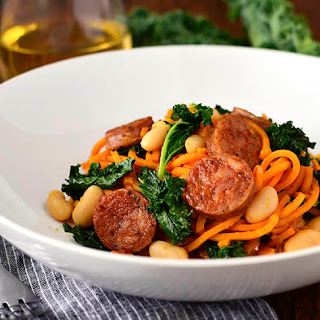 Chicken Sausage, Kale and White Bean Sweet Potato Noodle Skillet.