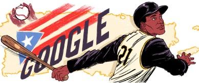 Hombre con una gorra de béisbol y camiseta de los Piratas de Pittsburgh balanceando un bate de béisbol, con Google y la bandera de Puerto Rico de fondo.