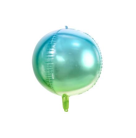 Folieballong Orb - Grön och blå ombre