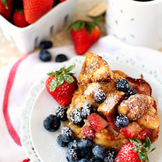Baked Strawberry Bagel French Toast Casserole.