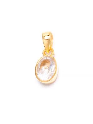 Bergkristall, månadssten för april i guldpläterat silverhänge