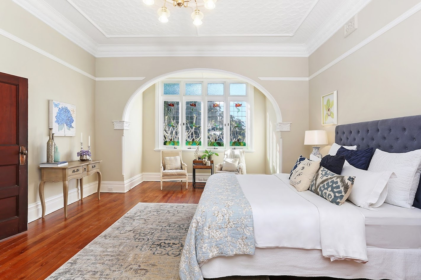 Beautiful period leadlight and ornate bedroom decoration at Blairgowrie, 32 Abuklea Road, Epping NSW 2121