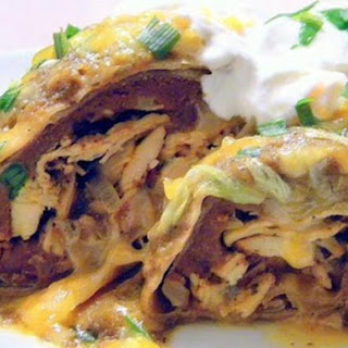 Baked Chicken Chimichangas with Sauce.
