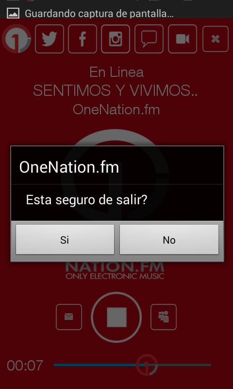 OneNation.fm: captura de pantalla