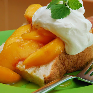 Angel Food Cake with Peach Sauce
