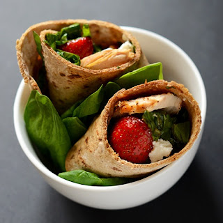 Strawberry Balsamic + Goat Cheese Salad Wraps