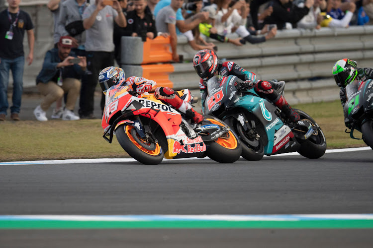 Marc Marquez of Spain and Repsol Honda Team leads the field during the MotoGP of Japan last year. The 2020 race has been cancelled.