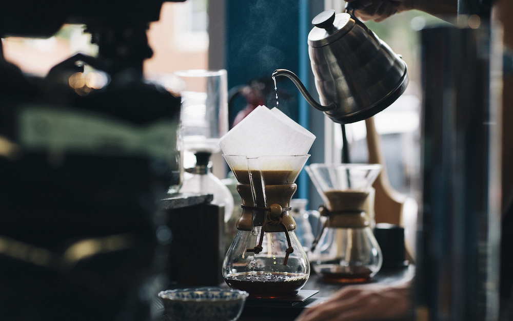pouring from kettle into chemex