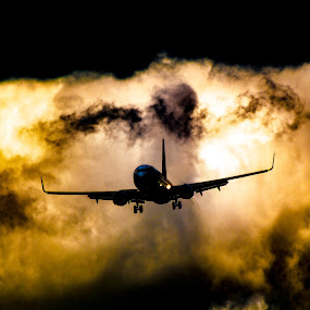 Airplane in the clouds by Patrick Quispel - Transportation Airplanes ( holiday, clouds, airport, sky, plane, color, shadow, airplane, cloud, travel, transportation, light )