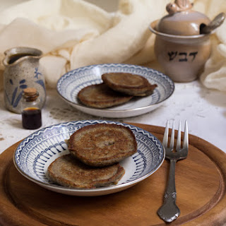 Russian Buckwheat Pancakes (syrniki) With Flax Seeds And Maple Syrup