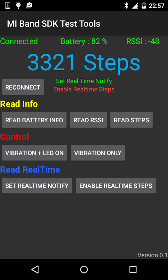 MI Band SDK Test Tools ( BLE )- screenshot