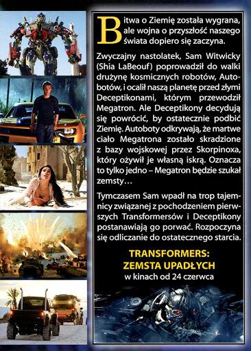 Tył ulotki filmu 'Transformers: Zemsta Upadłych'