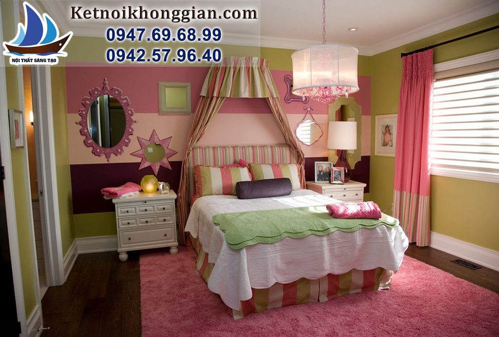 thiết kế phòng bé gái phong cách búp bê