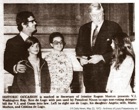 Photo: I'm checking out the camera & behind the scenes activity - future producer in the making . Historic Occasion is marked as Secretary of Interior Rogers Morton presents V.I. Washington Rep Ron de Lugo with pen used by President Nixon to sign non-voting delegate bill for V.I. and Guam into law. Left to right are de Lugo, his daughter Angela; wife Maria; Morton, and Cristina de Lugo (VI Daily News , May 22, 1972)