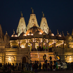 Swaminarayan Temple by Prabir Adhikary - Buildings & Architecture Places of Worship ( temple, temple architecture, indian temple, place of worship, temple at night, swaminatayan temple,  )