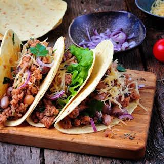Mexican Pork and Bean Tacos.