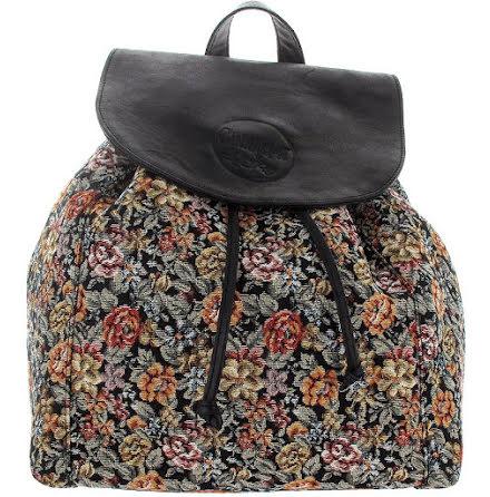 Ryggsäck brokad svart i skinn och blommig textil