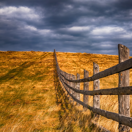 old wooden farme fence in a autumn rural landscape with dark clo by Roberto Sorin - Buildings & Architecture Other Exteriors ( country, dusk, rural, vertical, clouds, romania, house, building, farmland, agriculture, beautiful, barn, grass, dark, golden, farm, land, wood, tradition, meadow, autumnal, sky, fantasy, green, stormy, nature, countryside, old, tree, portrait, home, orange, outdoor, cloudy, environment, traditional, blue, field, dream, background, idyllic, vintage, wooden, autumn, fence, sibiu, landscape,  )