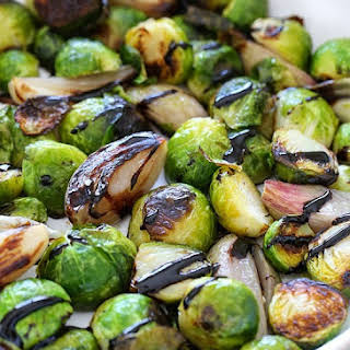 Roasted Brussels Sprouts and Shallots with Balsamic Glaze.