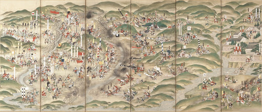 Six fold screen of The Battle of Nagashino