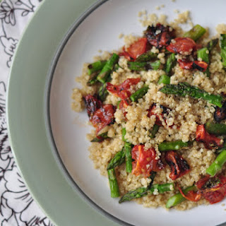 Quinoa With Oven Roasted Tomatoes + Grilled Asparagus