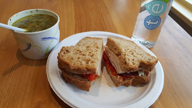 My Organic Vegetable Soup & Applegate Turkey, Roasted Red Pepper Sandwich. So delicious!