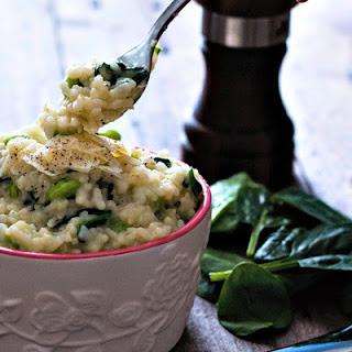 Creamy Edamame and Spinach Risotto.