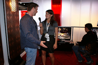 Photo: Chelsey interviewing God of War III Sr. Producer Steve Caterson.