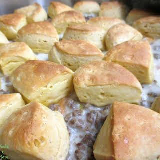 Sausage Gravy and Biscuits Casserole.