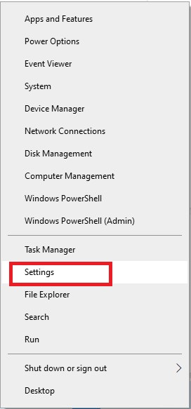 Pick settings from the Start menu by right-clicking on it.