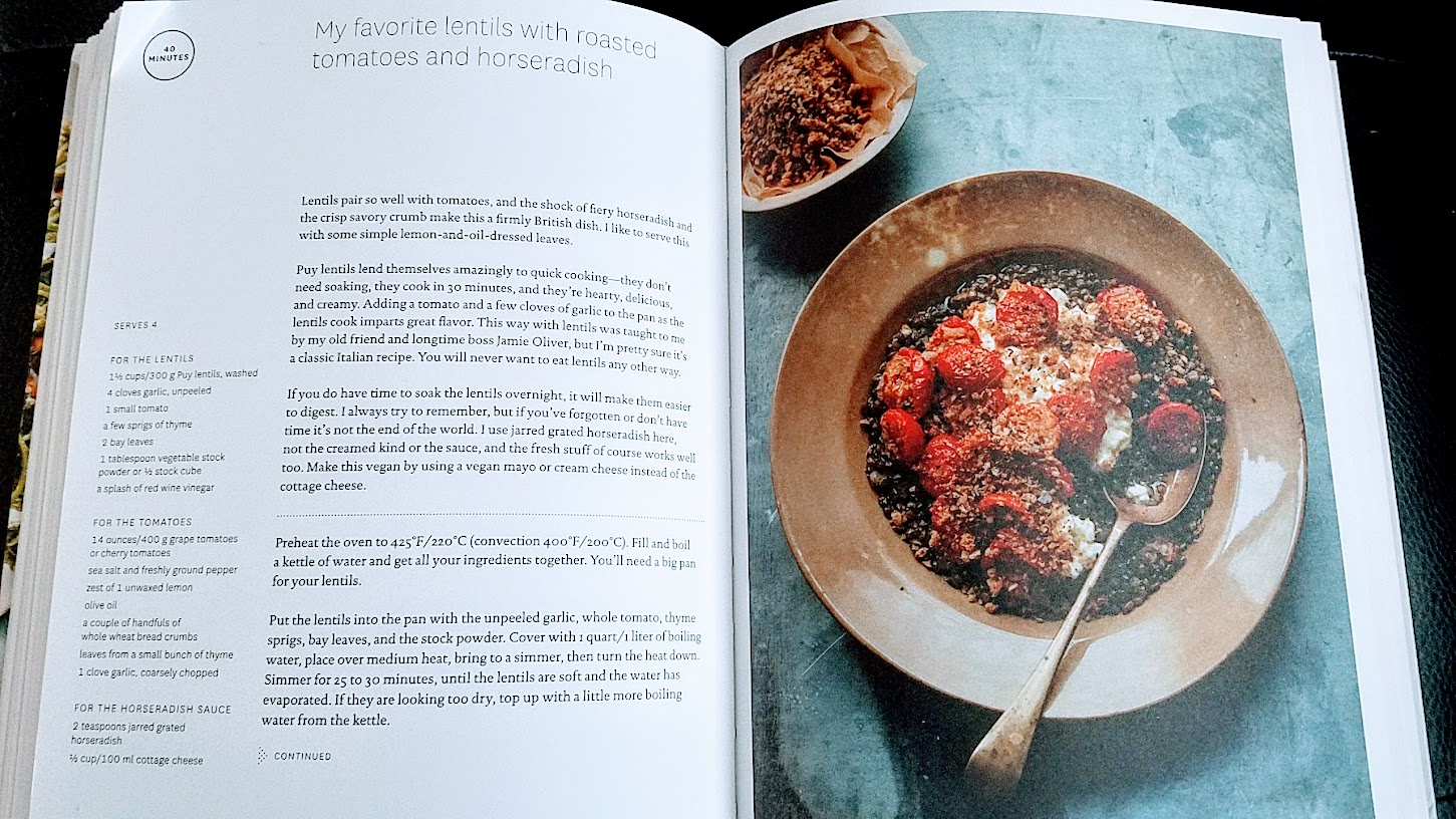 My favorite lentils with roasted tomatoes and horseradish recipe by Anna Jones for her cookbook A Modern Way to Cook