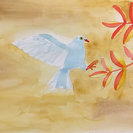 A Bird by Anika McFarland - Painting All Painting ( watercolor painting, bird, watercolor, bird painting, painting )