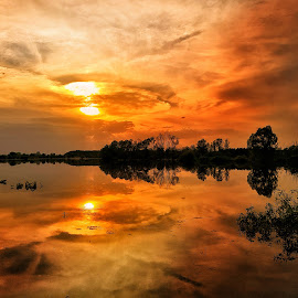 Supermassive Red Hole by Lola Kay - Landscapes Sunsets & Sunrises ( red, reflection, nature, sunset, river, autumn, landscape )