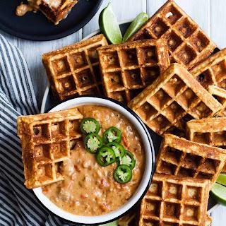 Cheddar Jalapeño Cornbread Waffles with Turkey Chile Con Queso Dip {gluten-free}.