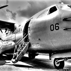 Army Transport Plane. by Awang Kassim - Transportation Airplanes ( black & white )