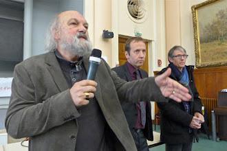 Photo: Ouverture du colloque par Jean-Luc Villeneuve, président de l'Iréa, Frédéric Sève, secrétaire général du Sgen-CFDT et Bruno Lamour, secrétaire général de la Fep-CFDT